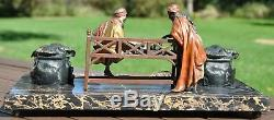 RARE Vienna Bronze Chess Match Ink Stand with Blotter and Letter Opener Chotka
