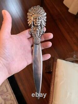 Rare Antique Kerr Sterling Silver Indian Chief Letter Opener