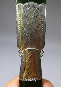 Rare Russian Silver Mounted Nephrite Jade Greenstone Letter Opener Page Turner