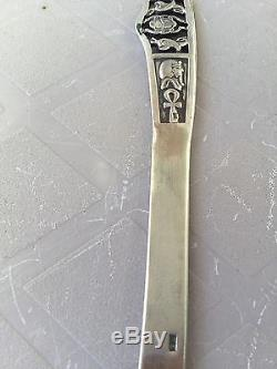 Rare Unique Egyptian Scarab, Ankh, Tut Stamped 100% Sterling Silver Letter Opener