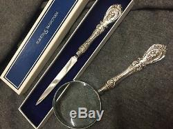 Reed & Barton Francis I Letter Opener and Magnifying Glass Set