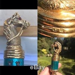 Russian Enamel Solid Silver nephrite jade Ruby diamond letter opener Form Horse