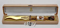 Russian Silver Enamel Letter Opener With Diamonds