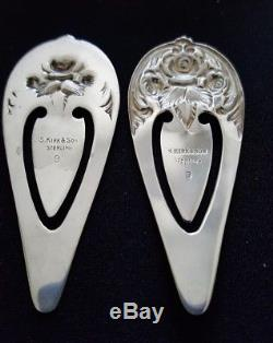 S. Kirk & Son sterling letter opener & 2 Rose embossed repousse book marks