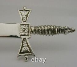SUPERB ENGLISH SOLID STERLING SILVER LETTER OPENER MEDIEVAL STYLE 2000 54g