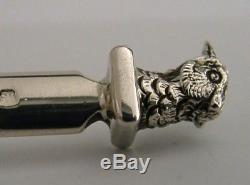 Solid Sterling Silver Pheasant Letter Opener 1984 Hunting Shooting English