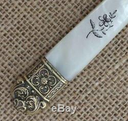 Stunning Antique French Silver Gilt & Mother of Pearl Handle Letter Opener