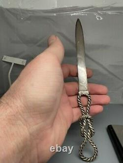 Tiffany & Co Sterling Silver Letter Opener Rope Knot Knife 9.5 Long 90g