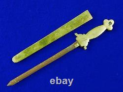 Vintage Antique Old Chinese China Small Dagger Knife Letter Opener with Scabbard