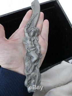 Vintage Art Nouveau Lady Nude Goddess Sea Creature Relief Pewter Letter Opener