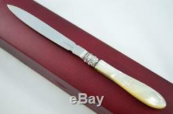 Wooden Cased Sheffield Mother Of Pearl Solid Silver Bladed Letter Opener 1831