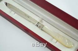 Wooden Cased Sheffield Mother Of Pearl Solid Silver Bladed Letter Opener 1880